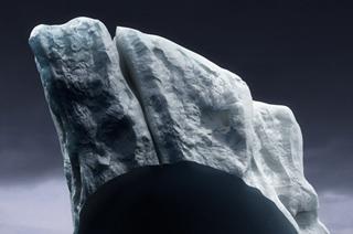 Une sculpture vient compléter l'image en représentant la partie manquante. La somme de l'image et de la sculpture forme le paysage dans son entièreté.